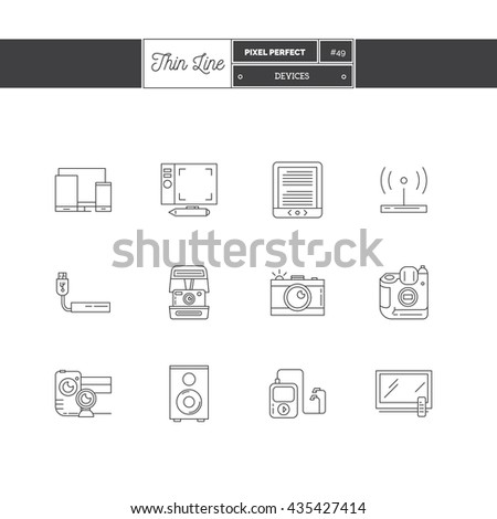 Line Icons Set of Technology Devices icons set. Technology and innovation objects. Icons for web and mobile app. - stock vector