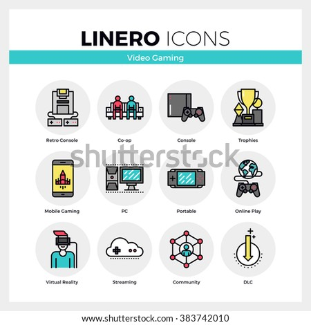 Line icons set of video gaming platform, computer games. Modern color flat design linear pictogram collection. Outline vector concept of mono stroke symbol pack. Premium quality web graphics material. - stock vector