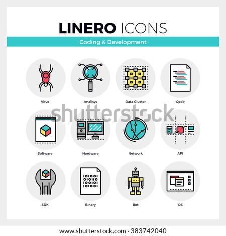 Line icons set of web coding for software and hardware. Modern color flat design linear pictogram collection. Outline vector concept of mono stroke symbol pack. Premium quality web graphics material. - stock vector