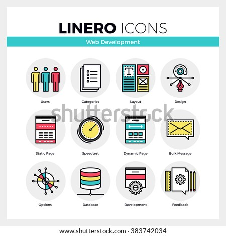 Line icons set of web development, website user settings. Modern color flat design linear pictogram collection. Outline vector concept of mono stroke symbol pack. Premium quality web graphics material - stock vector
