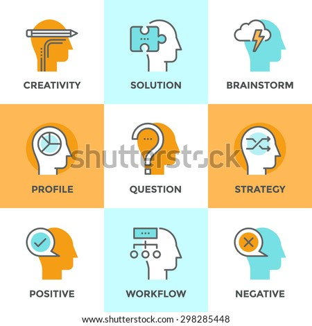 Line icons set with flat design element of human positive and negative emotions, brain creativity workflow, jigsaw puzzle solution, mind power and strategy. Modern vector pictogram collection concept. - stock vector