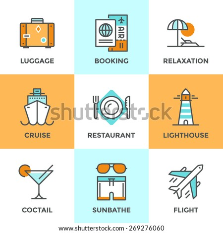 Line icons set with flat design elements of air flight travel, resort vacation, cruise ship, luxury relaxation, booking hotel, tourist luggage. Modern vector logo pictogram collection concept. - stock vector