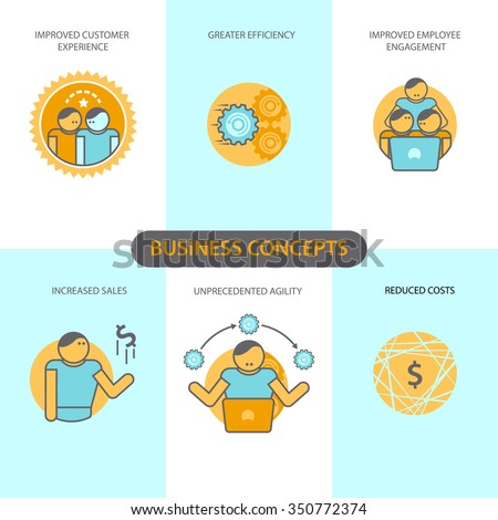 Line icons set with flat design elements of business concepts, improved customer experience, greater efficiency, improved employee engagement, increased sales, unprecedented agility, reduced costs.  - stock vector