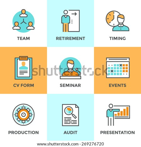 Line icons set with flat design elements of business people management, company growth presentation, seminar training, human resources and retirement. Modern vector logo pictogram collection concept. - stock vector