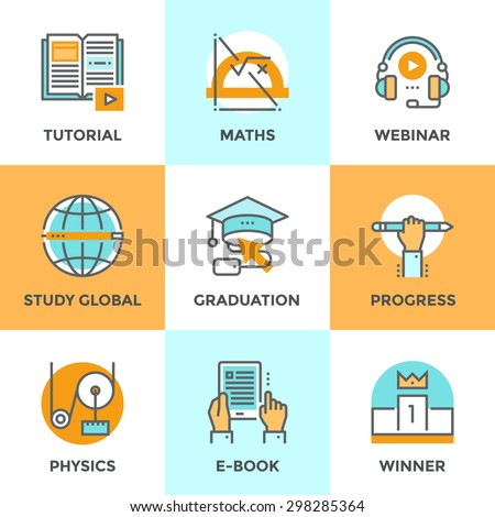 Line icons set with flat design elements of education progress, global study, e-book learning, webinar audio course, winner pedestal, physics and math learn. Modern vector pictogram collection concept - stock vector