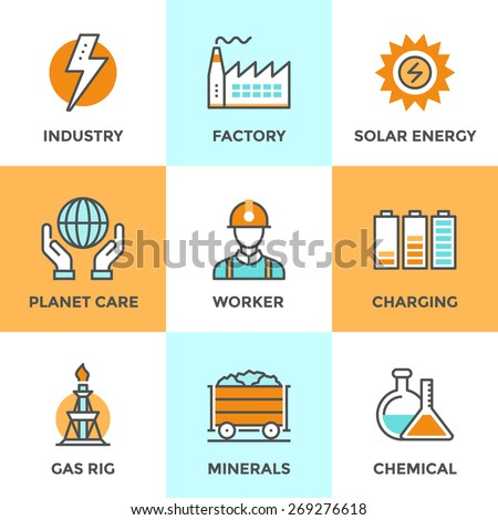 Line icons set with flat design elements of electric industry, factory production, mining minerals, solar energy, chemical analysis, planet care. Modern vector logo pictogram collection concept. - stock vector