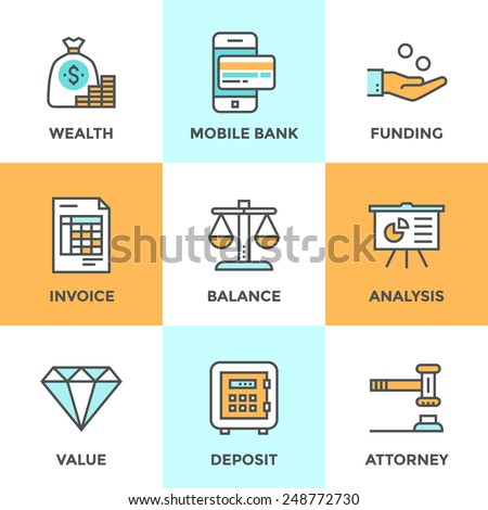 Line icons set with flat design elements of financial investment for development business project, mobile banking and accounting tools, safe deposit service. Modern vector pictogram collection concept - stock vector