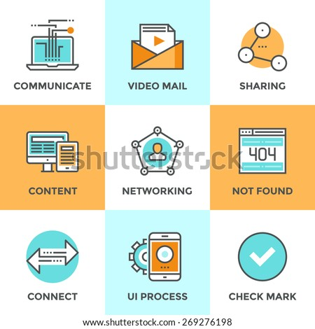 Line icons set with flat design elements of people networking communication, video mail content, user connect arrows, sharing media information. Modern vector logo pictogram collection concept. - stock vector