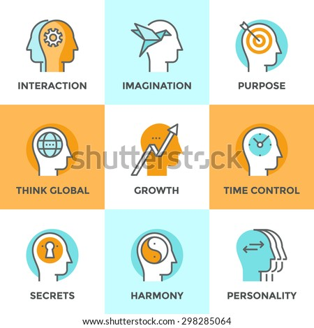 Line icons set with flat design elements of people teamwork relations, brain thinking process, human target purpose, personality change and mind balance. Modern vector pictogram collection concept. - stock vector