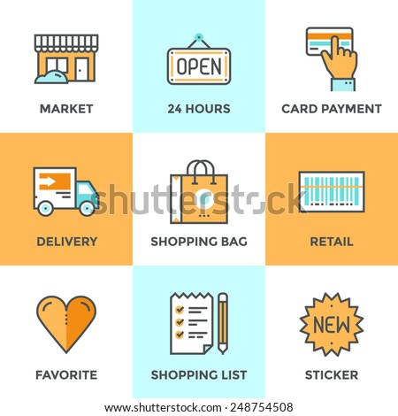 Line icons set with flat design elements of retail services and market goods selling, shopping and buying products, logistics services and price scanning. Modern vector pictogram collection concept.   - stock vector
