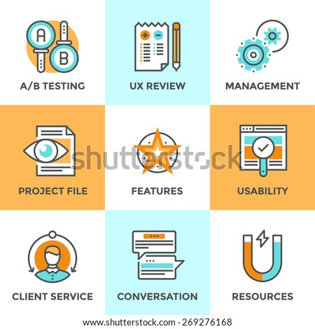 Line icons set with flat design elements of UI and UX user experience, A/B testing usability project, client service feedback, new product development. Modern vector logo pictogram collection concept. - stock vector