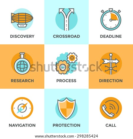 Line icons set with flat design elements of various business metaphor, cogwheel gear process, navigation compass, call answer, discovery new horizon and etc. Modern vector pictogram collection concept - stock vector