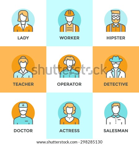 Line icons set with flat design elements of various business people profession, professional human occupation, basic characters career, stylish avatars. Modern vector pictogram collection concept. - stock vector