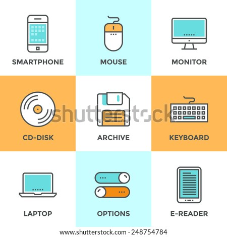 Line icons set with flat design elements of various technology devices and objects using for entering, reading and saving information. Modern vector pictogram collection concept.  - stock vector