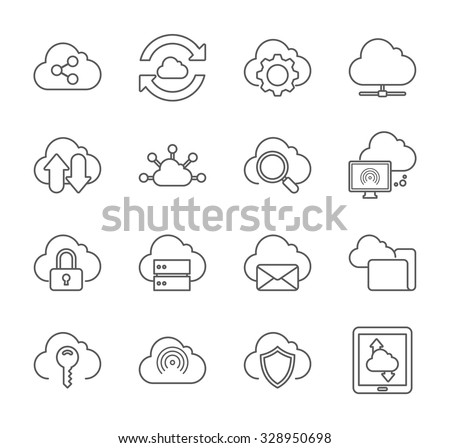 Line icons set with flat design of cloud computing - stock vector