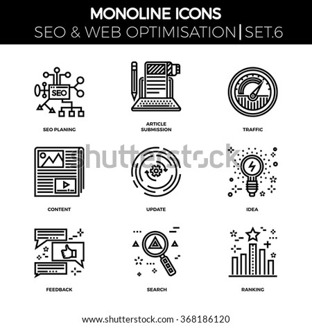 Line icons set with flat design of search engine optimization. Seo planing, article submission, traffic, content, update, idea, feedback, search, ranking. Monoline icons - stock vector