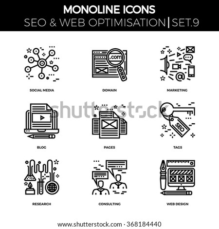 Line icons set with flat design of search engine optimization. Social media, domain, marketing, blog, pages, tags, research, consulting, web design. Monoline icons - stock vector