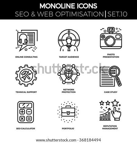 Line icons set with flat design of seo. Online consulting, target audience, photo presentation, support, network protection, case study, seo calculator, portfolio, reputation management. Monoline icon - stock vector