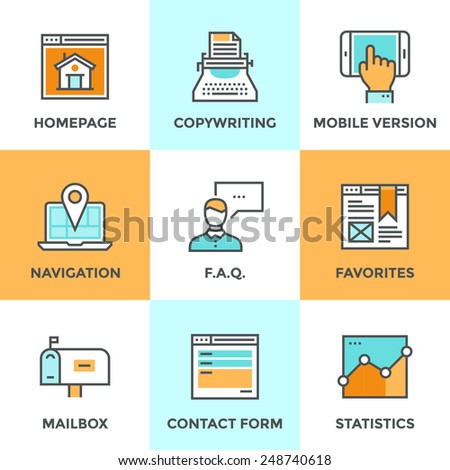 Line icons set with flat design of website main elements and page features, web site mobile version, navigation pin, contact form and internet analytics. Modern vector pictogram collection concept. - stock vector