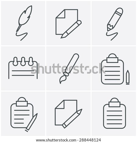 Line Icons Style Writing icons - stock vector