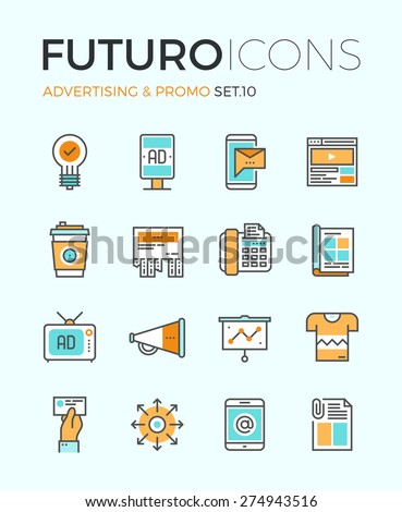 Line icons flat design elements advertising stock vector for Digital marketing materials