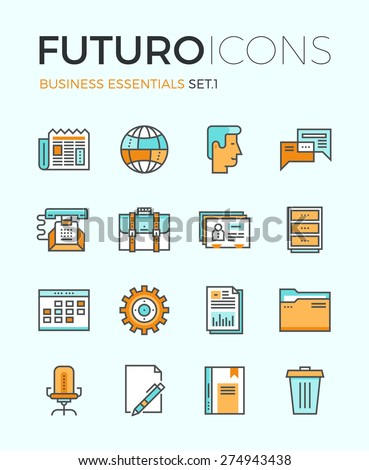 Line icons with flat design elements of business essentials object, everyday office tools, professional solution item, global communication. Modern infographic vector logo pictogram collection concept - stock vector