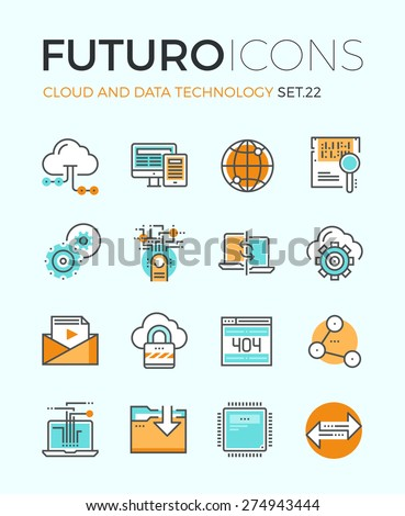 Line icons with flat design elements of cloud computing technology, big data analysis, global network connection, computer communication. Modern infographic vector logo pictogram collection concept. - stock vector