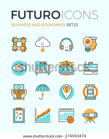 Line icons with flat design elements of corporate business economics, global market strategy vision, partnership teamwork organization. Modern infographic vector logo pictogram collection concept. - stock vector