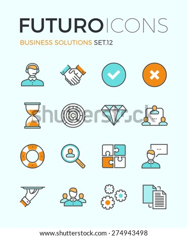 Line icons with flat design elements of customer service, client support, success business management, teamwork cooperation process. Modern infographic vector logo pictogram collection concept.  - stock vector