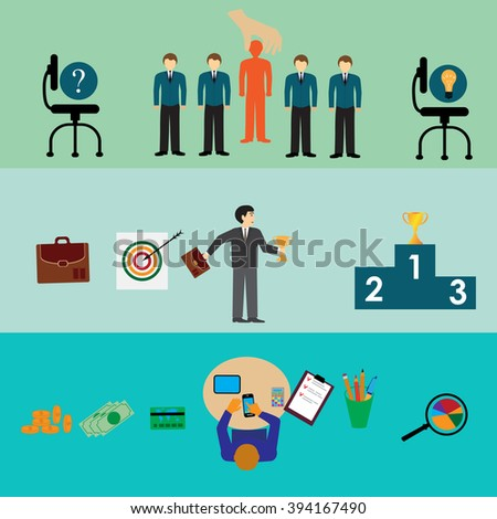 Line icons with flat design elements of customer service, client support, success business management, teamwork cooperation process. - stock vector