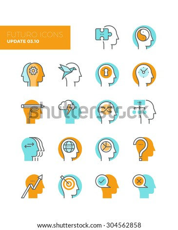 Line icons with flat design elements of human solution provider, teamwork strategy brainstorming, human profile management, head thinking. Modern infographic vector logo pictogram collection concept. - stock vector