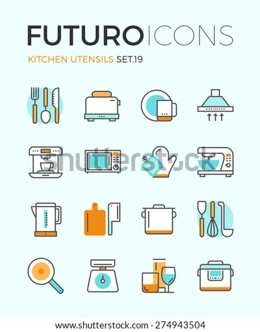 Line icons with flat design elements of kitchen utensils, glassware and cooking appliances, kitchenware for food preparation, cutlery tools. Modern infographic vector logo pictogram collection concept - stock vector