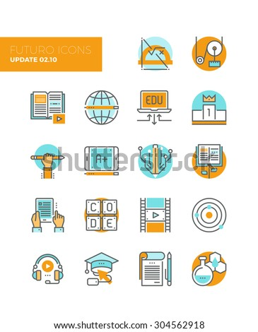 Line icons with flat design elements of online education technology, people learning applied science, knowledge base growth, learn to code. Modern infographic vector logo pictogram collection concept. - stock vector