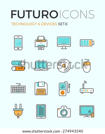Line icons with flat design elements of personal electronics and multimedia devices, consumer technology object, home and office appliances. Modern infographic vector logo pictogram collection concept - stock vector
