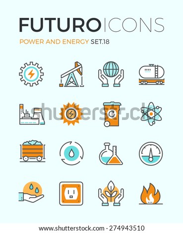 Line icons with flat design elements of power and energy production, electric industry, world ecology conservation, coal mining minerals. Modern infographic vector logo pictogram collection concept. - stock vector