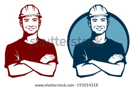 line illustration of a smiling construction worker with safety hard hat - stock vector
