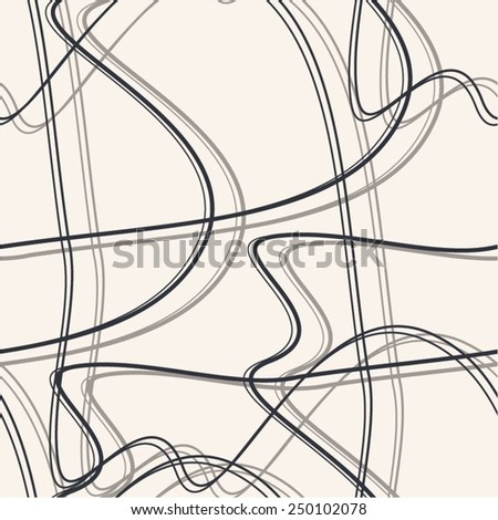 Line in a chaotic pattern of simple, seamless vector background. - stock vector