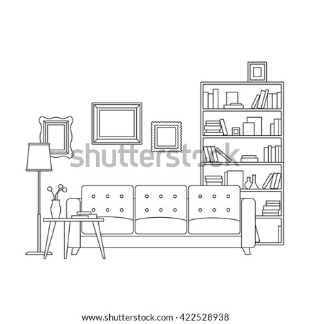 Line interior of living room with furniture. Vector thin illustration of living room. - stock vector