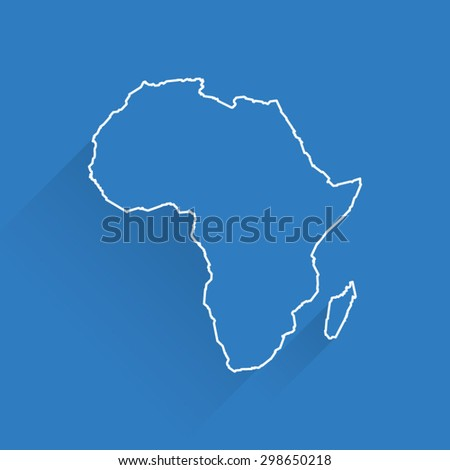 Line Map of Africa - stock vector