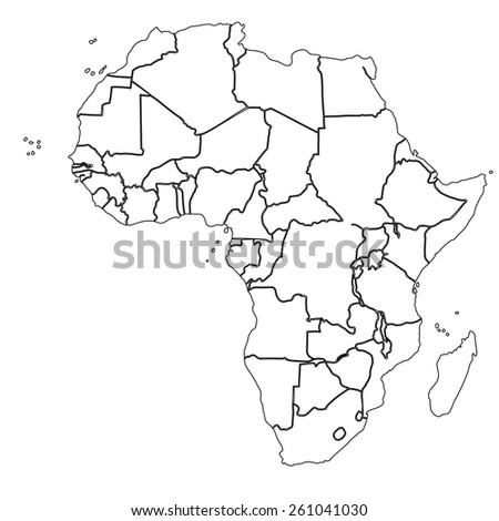 Line map africa border stock vector hd royalty free 261041030 line map of africa with border sciox Choice Image