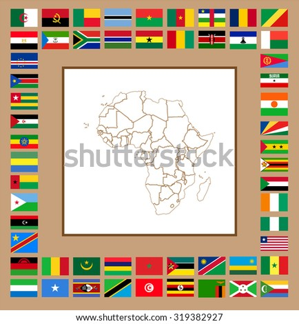 line map of africa with borders and set of flags vector