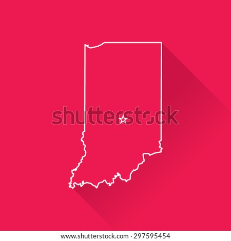 Line Map of Indiana - stock vector