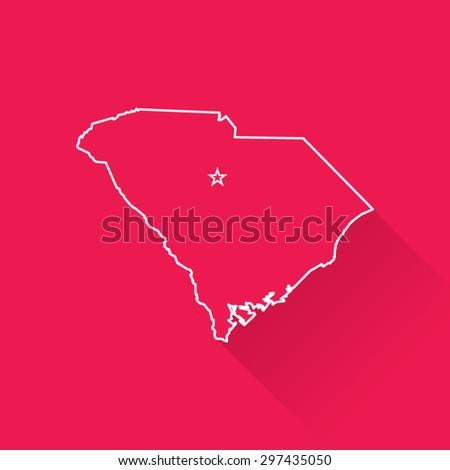 Line Map of South Carolina - stock vector