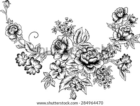 Line of a large bouquet, Vector background, fabric, tattoo.