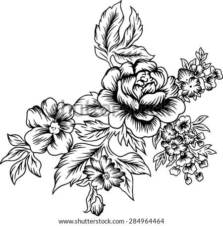 Line of bouquet.Vector background, fabric, tattoo.