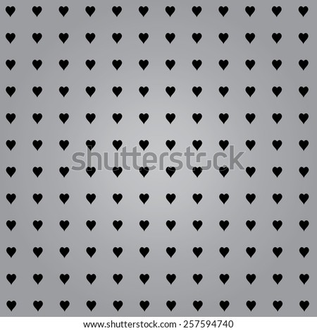 line of hearts with grey background - stock vector