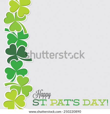 Line of shamrocks St. Patrick's Day card in vector format. - stock vector