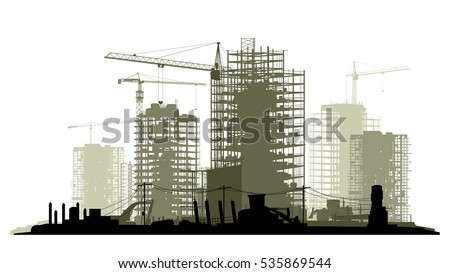 Line of silhouettes illustration of construction site with cranes and skyscraper with tractors, bulldozers, excavators and grader in green tone.