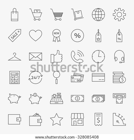 Line Online Shopping and Commerce Icons Big Set. Vector Set of 36 E-commerce and Marketing Modern Thin Line Icons for Web and Mobile - stock vector
