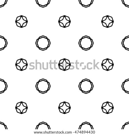 Line ornament pattern. Black and white endless abstract texture for prints, textiles, wrapping, wallpaper, website etc. Vector illustration.